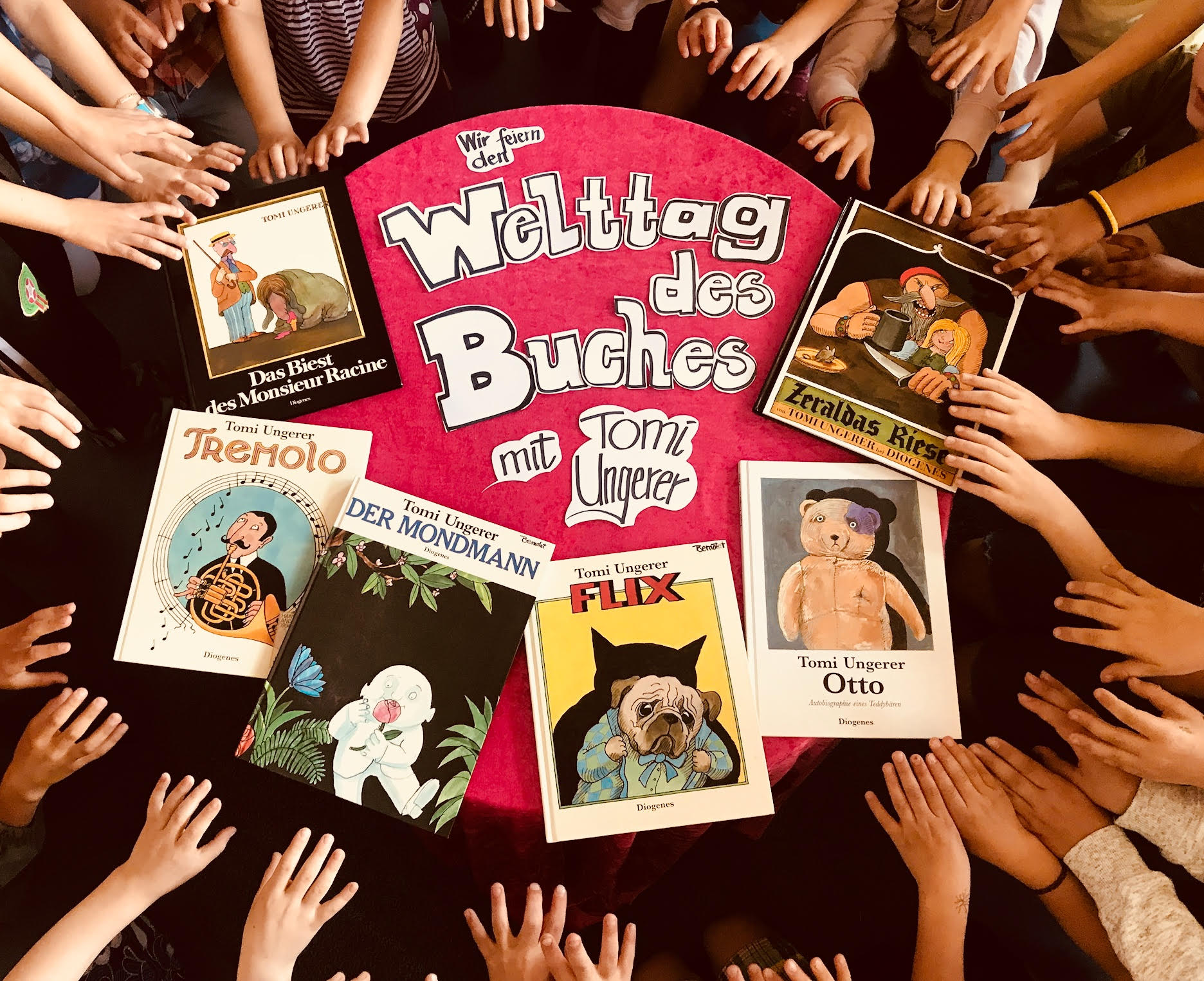 """Janina Bernotat, Germany: """"Welcome to our classroom, where we are celebrating UNESCO World Book Day with our favourite books, Tomi's books!"""""""