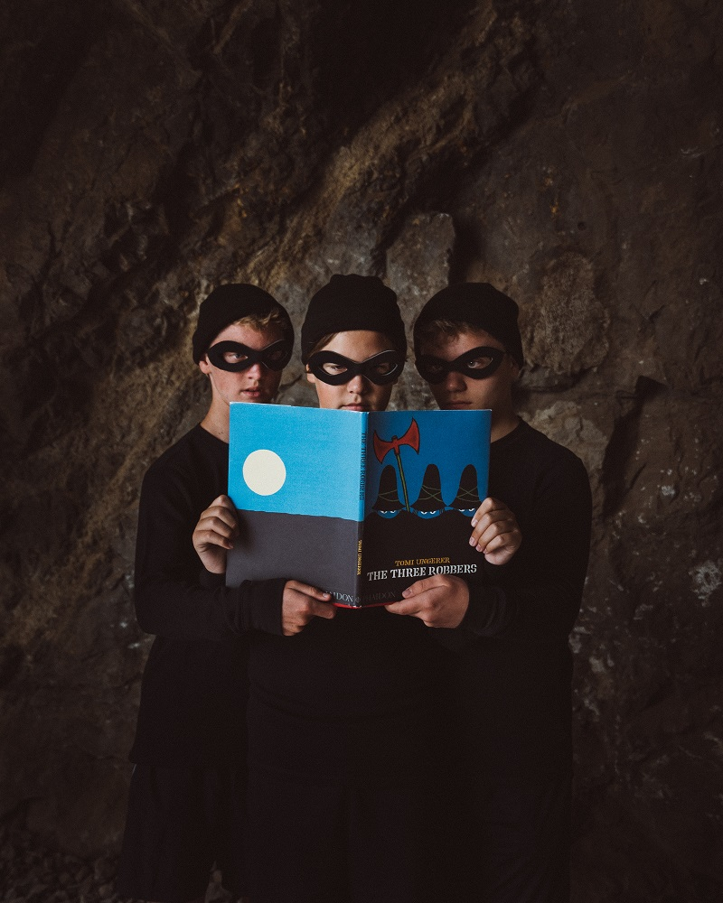 """Gabe Eggerling: """"I am a HUGE Tomi Ungerer fan, and we shot this image in 'The Bat Cave' at Griffith Park in Los Angeles.  I learned about this book when I booked the voice over for Weinstein's film The Three Robbers."""""""