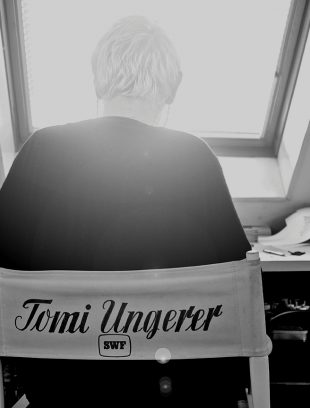 Tomi Ungerer in his studio during the filming of Far Out Isn't Far Enough: The Tomi Ungerer Story